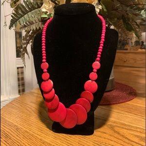 💥4/$10💥 Deep Pink Wood Bead Necklace